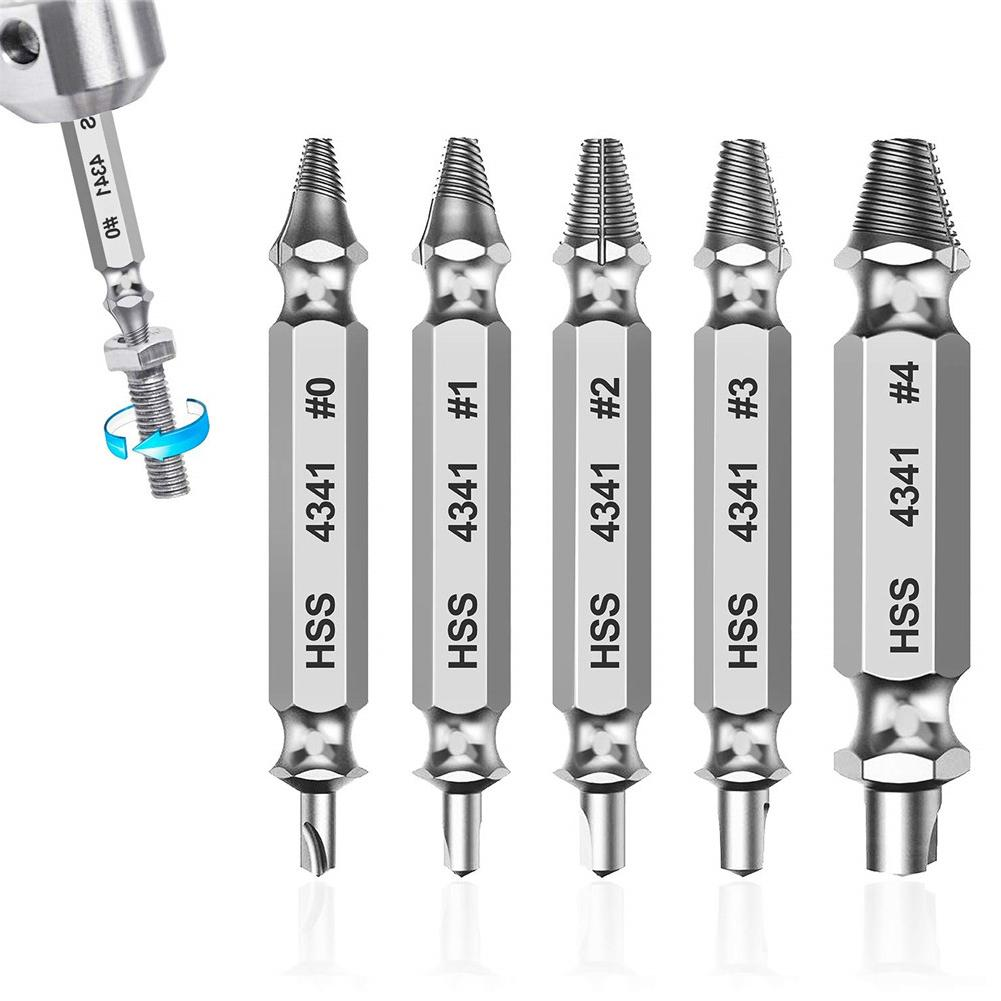 5pcs/pack Double Side Damaged Screw Extractor Drill Bit Out Remover Bolt Stud Tool Remove Damaged Screws Slip Teeth Screwdriver
