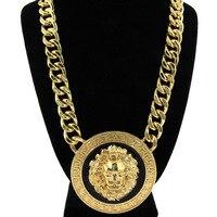YL Fashion Colar Hip Hop Golden Lion Head Necklace For Male Bar Club Charm Franco Chain