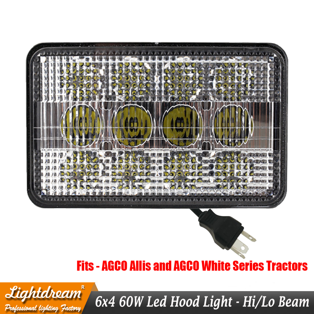 Agco Allis White Series Led Hood Light Tl9020 6x4 Hi Lo Flood Spot Wiring Diagram Beam Pattern 12 Volt To 24 Input Voltage Work Lights X1 In Bar From