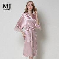 X018 MaiJee Ladies lace Sexy Pajamas Silk Robes For Women Bridal Robes Badjas Dames Szlafrok Bride sSexy Nightdress Kimono