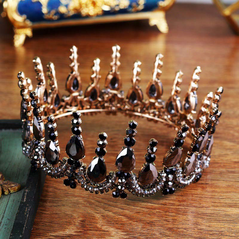 Vintag Baroque Wedding Hair Accessories bride Gold Rhinestone Full Round Tiara Crown Black Crystal Diadema Women Hair Jewelry vintage gold round crystal tiara baroque rhinestones princess queen crown for bride hair accessories wedding crown hair jewelry