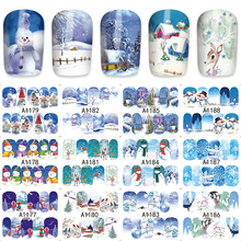 FWC Christmas Snowman Nail Wraps Sticker Tips Manicura Nail Supplies Decal 12pcs/Lot A1177-1188
