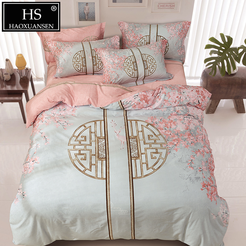 60S Chinese Style Window and Leaf Print Sanding Bedding Sets Egyptian Cotton Satin Duvet Cover Set Queen King Size Luxury Gift