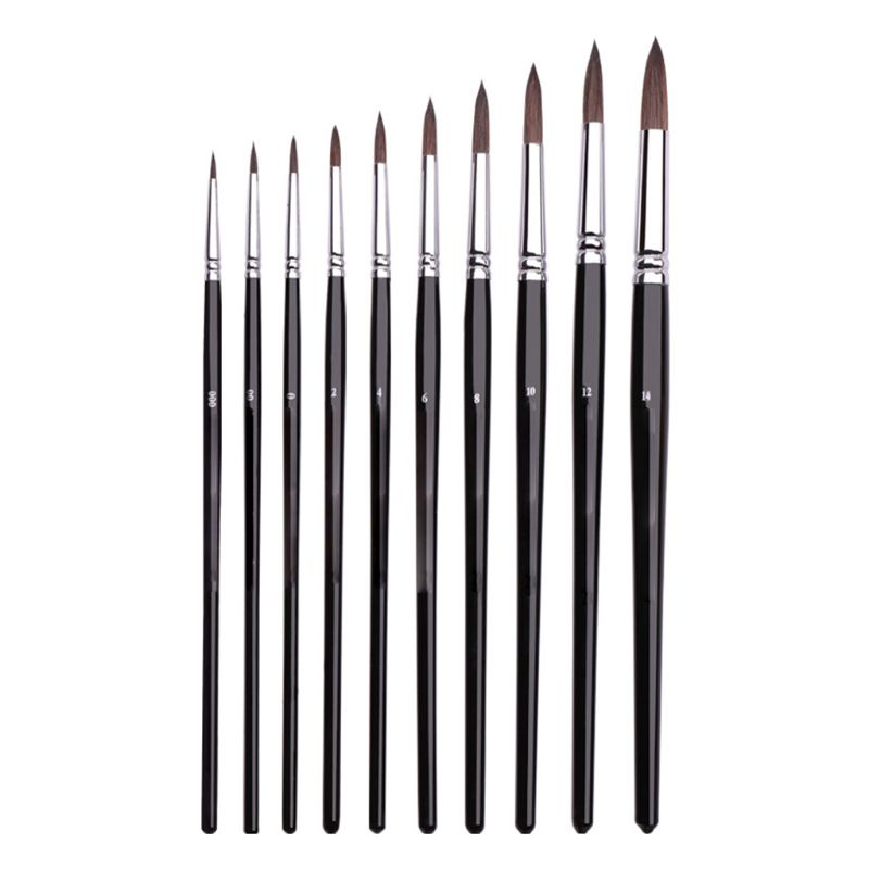 10 Models Squirrel Hair Black Rod Candle Light Type Watercolor Brush Brush Round Head Gouache Oil Painting Acrylic Pen