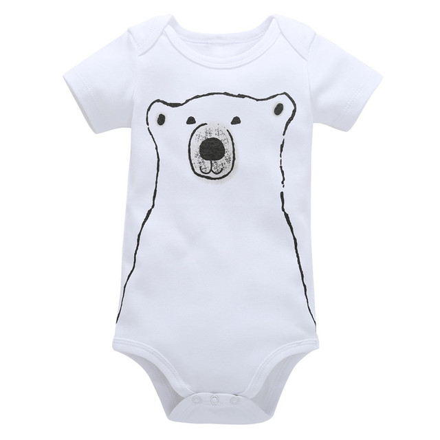 f0431801545 0-18M Newborn Boys Rompers Toddler Girls Romper Clothing Cotton Unisex  Jumpsuit Infant Summer Playsuit White Bear Baby Clothes