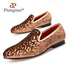 Piergitar/Новинка 2017 года специальной ручной коричневый цветок печати Мужская бархатная обувь праздничная и Свадебная обувь мужские лоферы модные мужские туфли на плоской подошве