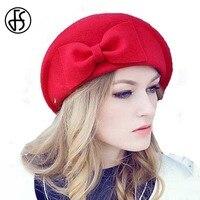 100% Australian Wool Fedora Winter Ladies Red Black Camel Bow French Beret Hat Vintage British Style Stewardess Hats Boinas