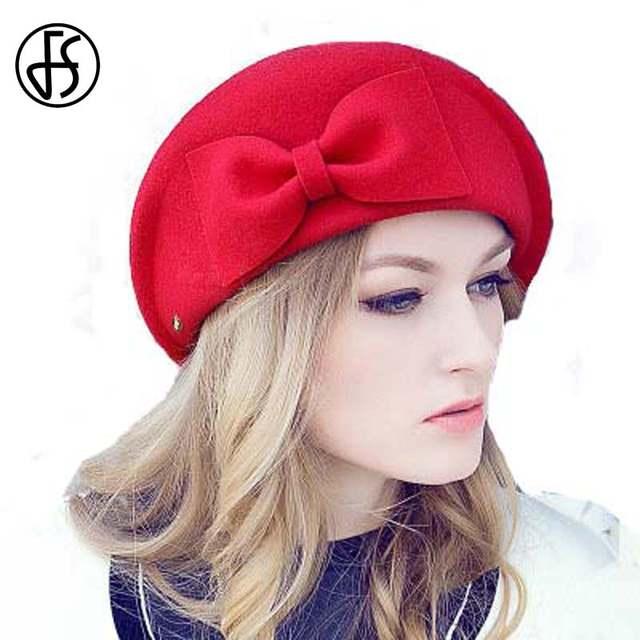 100% Australian Wool Hat Fedora Inverno Senhoras Preto Vermelho Camelo Arco  Aeromoça Chapéus Boinas Francês d6afd9994d0