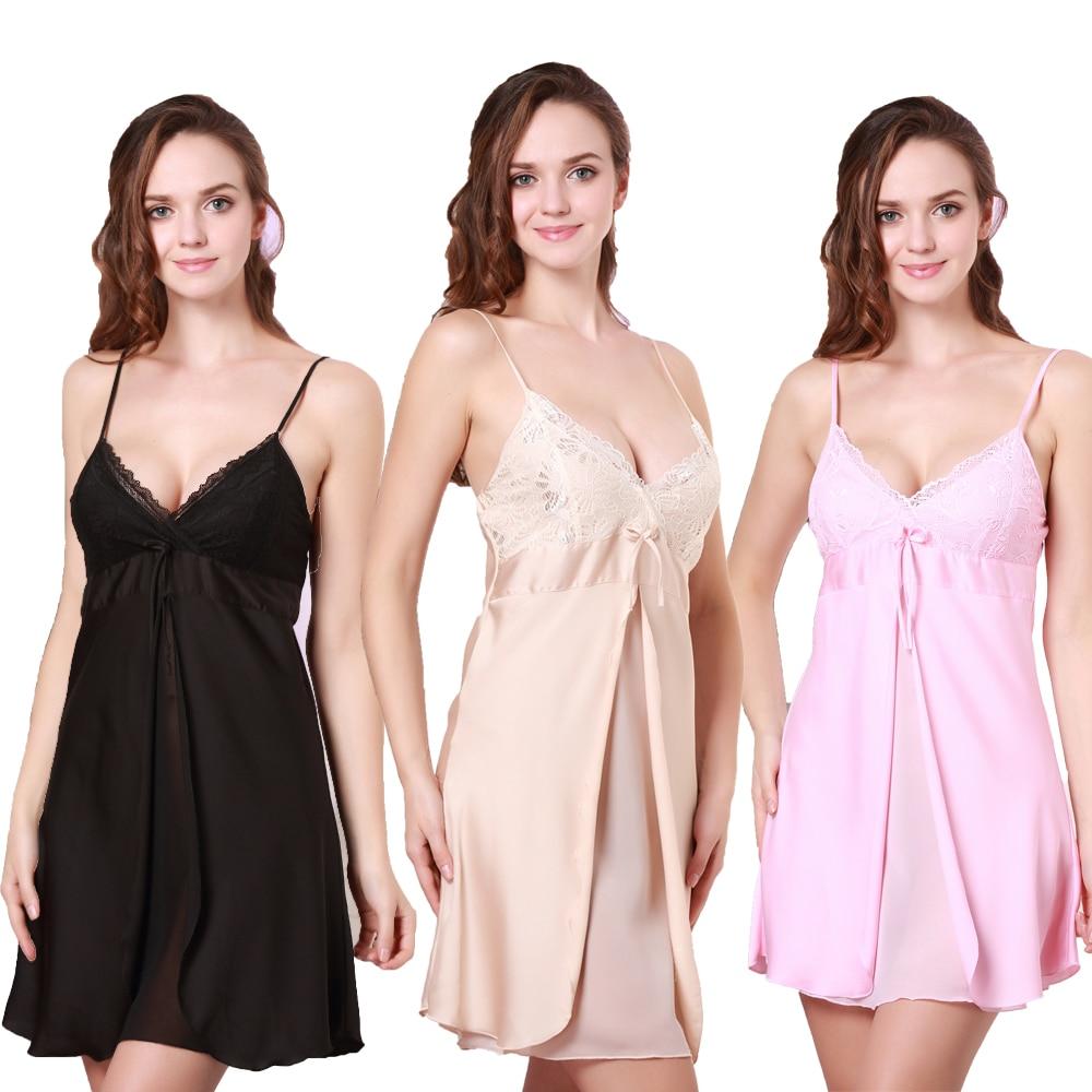 Sexy Summer Womens MINI Spaghetti Strap Sleep Ropes Black Pink and Champagne Sleepwear Silk Satin NightDress A-9