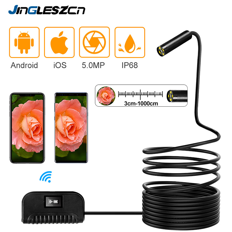 Newest 5.0MP WiFi Endoscope Camera IP68 1944P HD Inspection Camera Snake Semi Rigid  For Android iPhone IOS Endoscope-in Surveillance Cameras from Security & Protection    1