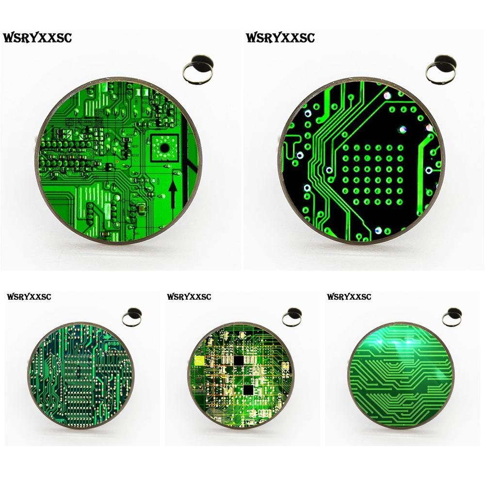 Wsryxxsc Circuit Board For Girls Handmade Gift Harajuku Style Where Are The Gold And Silver On Boards Jewelry With Glass Cabochon Bronze Golden Ring
