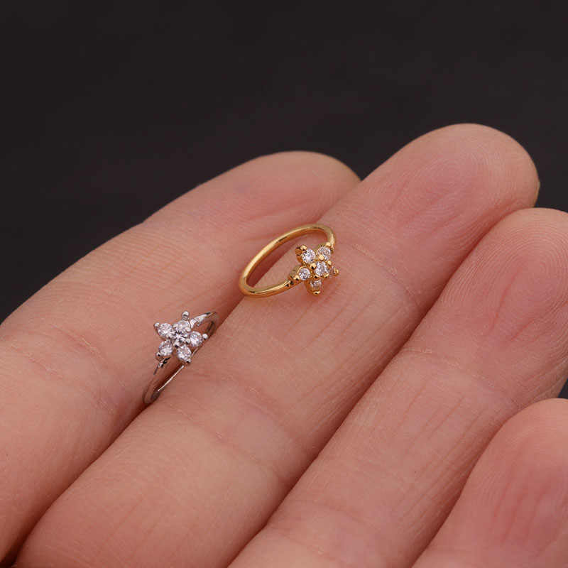 Feelgood 1pc Silver And Gold Color 20gx8mm Nose Piercing Jewelry
