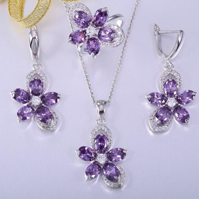 ZHE FAN Purple AAA Zirconia Flower Women Jewelry Set 3 Pcs Pendant Earrings Ring Random Chain Party Valentines Day Size 6 7 8 9