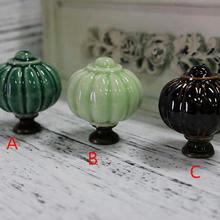 Тыквенные керамические ручки ящика ручки комод ручка кухонный шкаф дверные ручки светильник темно-зеленый коричневый