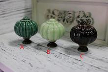 цена на Pumpkin Ceramic Knobs Drawer Knob Pulls Handles Dresser Knob Kitchen Cabinet Door Handles Light Dark Green Brown