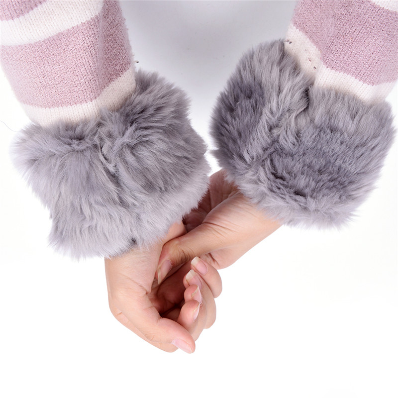 1 Pair Women Winter Wrist Warmer Oversleeve Faux Fur Windproof Arm Bracelet Wristbands Arm Sleeves Elastic Gloves