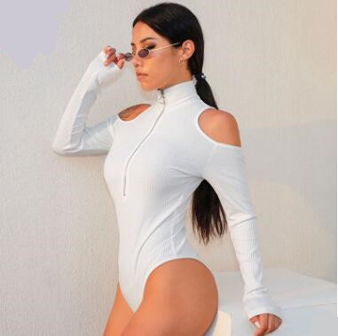 New Ladies Warm Knitted Long Sleeve Jumpsuits Show Shoulder Zipper High Collar Sexy Rompers Women Solid Color Bodysuits