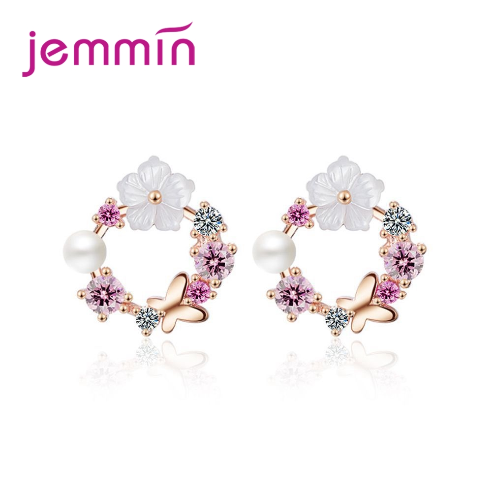 Bridal Wedding Engagement Party Earrings Flower shape 925 Sterling Silver Charming Luxury Women Girl Jewelry Wholesale