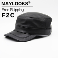 2018 Top Fashion Gorras Brand Genuine Leather military Cap Men's New Cowhide Hat Newsboy Caps Hats Color Army Military Cs57