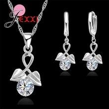 JEXXI Luxury Elegant 925 Sterling Silver Double Heart Cubic Zirconia Drop Earrings for Women Bride Wedding