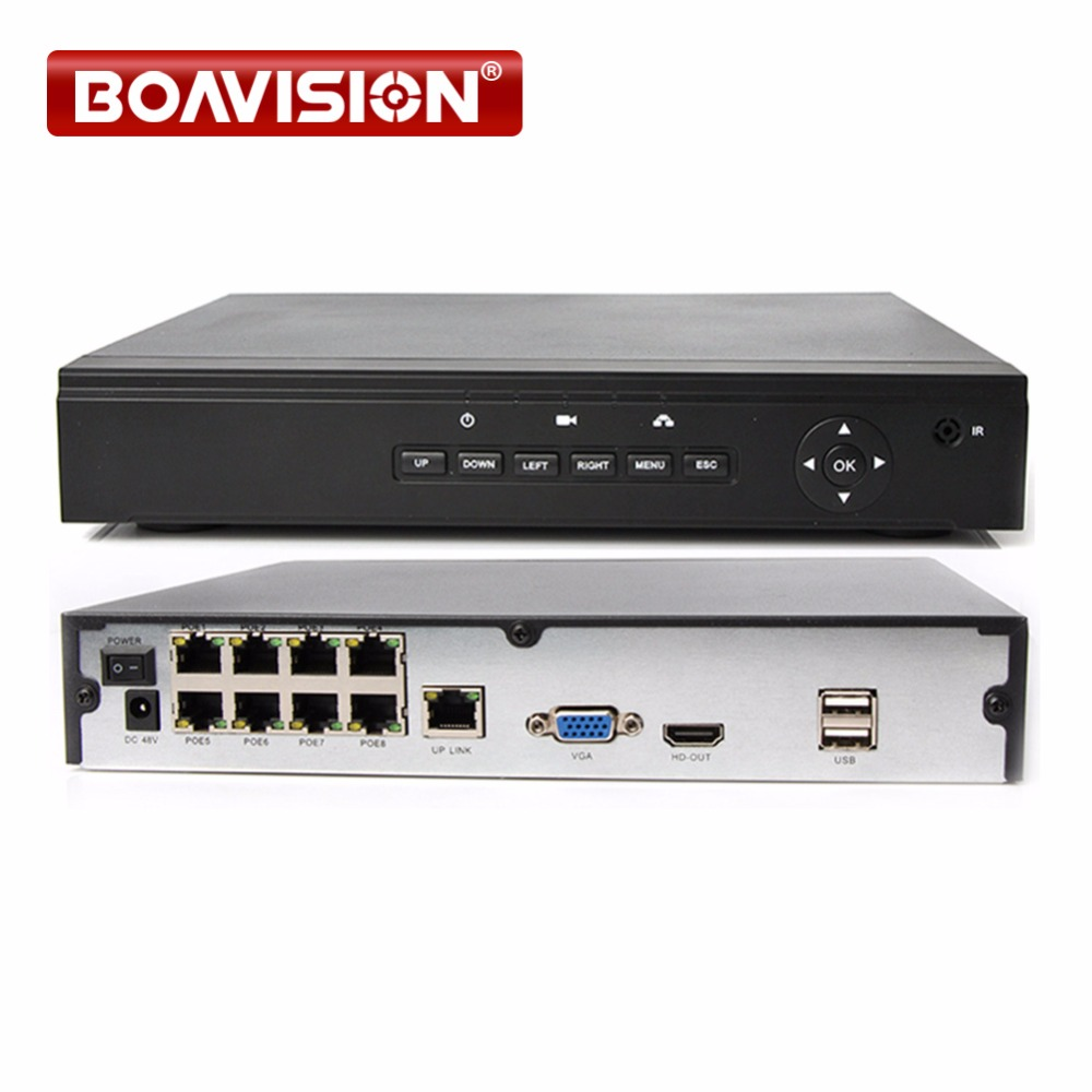 48V POE CCTV NVR 8CH 1080P Security NVR Support 8Ch 2MP POE IP Camera CCTV Surveillance Network Video Recorder XMEye P2P Onvif