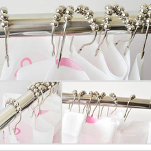 12pcs/pack Set Package Polished Metal 5 Roller Ball Shower Curtain Rings Hooks Free Shipping New Arrival B0