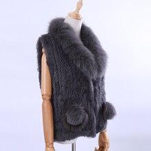 2018 New Women's Lady Genuine Real Knitted Rabbit Fur Vests Fox Fur Collar Waistcoat Fur Sleeveless Gilet Fox Fur Pom Poms цены онлайн