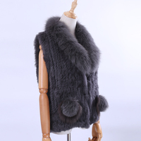 2018 New Women's Lady Genuine Real Knitted Rabbit Fur Vests Fox Fur Collar Waistcoat Fur Sleeveless Gilet Fox Fur Pom Poms