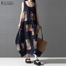 Women Casual Loose Dress 2017 ZANZEA Summer Sleeveless Vintage Printed Long Maxi Linen Beach Dresses Beach Dress Vestidos