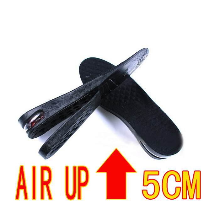 Free shipping 100PCS/Lot PU Height Increase Shoes Insoles Pads 5cm Air Cushion Black for Men&Women 200pcs=100pairs free shipping candy color women garden shoes breathable women beach shoes hsa21