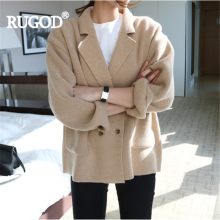 RUGOD Autumn Winter Newest England Style Double Breasted Fashion Elegant Women Sweater Casual Loose Turn-down Collar Sweater(China)