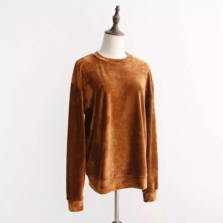 2017 Spring New European Style Women Fashion O Neck Long Sleeve Solid Color Gold Velour Casual