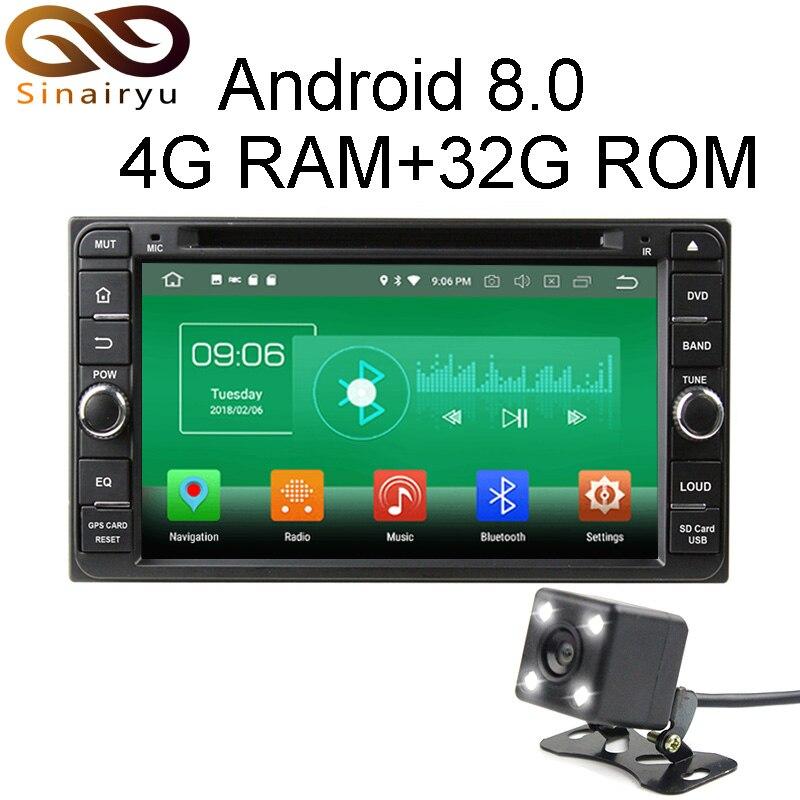 4 г Оперативная память Android 8.0 автомобильный DVD для Toyota RAV4 COROLLA VIOS Fortuner Прадо Terios Hilux Универсальный Радио GPS плеер головное устройство