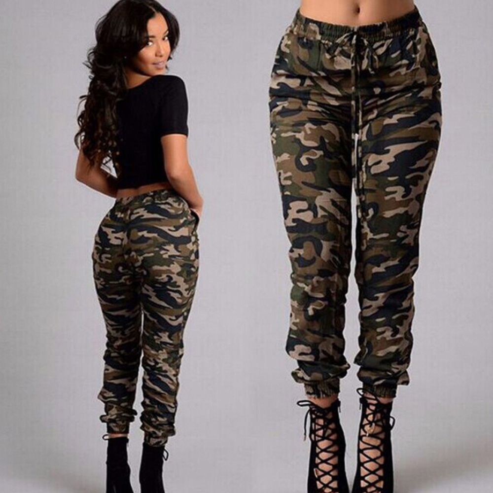 Womens Camo Cargo Trousers Casual Long Pants Military Armygreen Camouflage Print Pencil Pants Jogger 2019 Sweatpants Plus Size