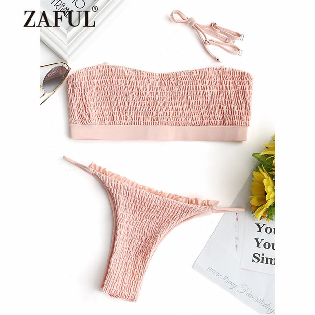 0da78c078d ZAFUL 2018 New Women Bralette Smocked Ruffles Strapless Bikini Set Swimwear  Women Swimsuit Bandeau Bathing Suit Thong Bottoms