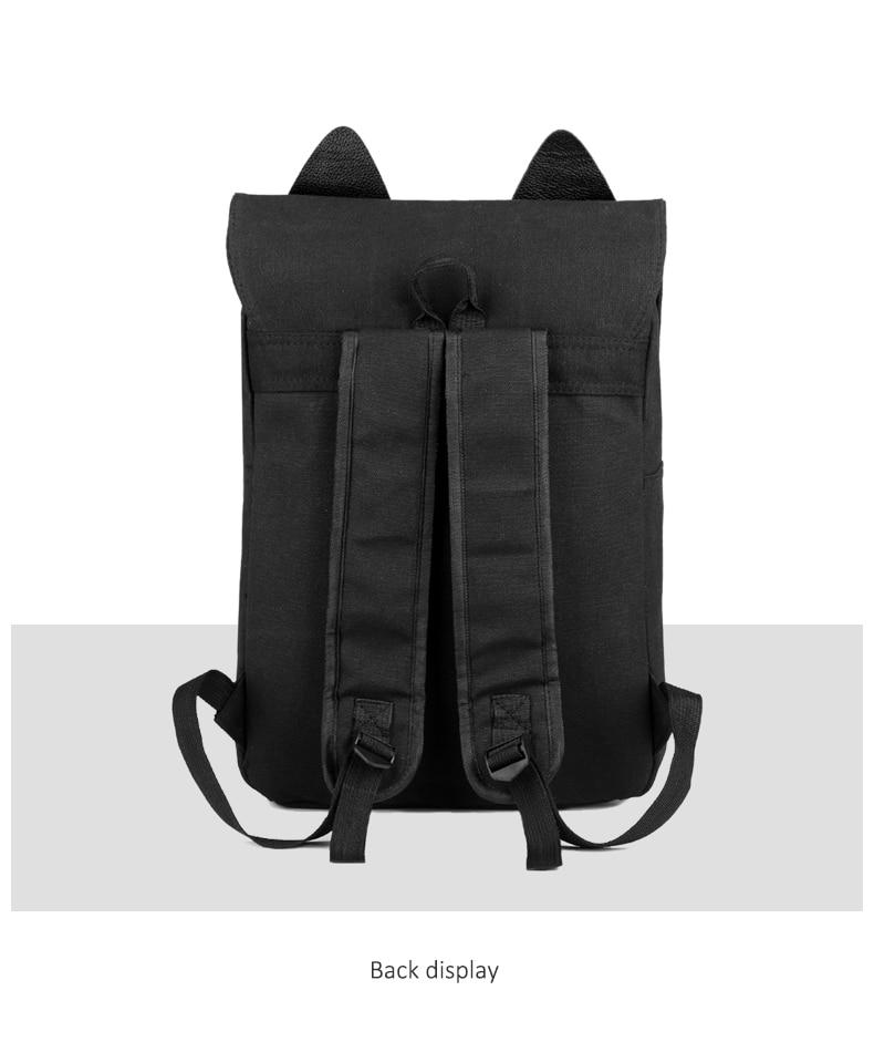 HTB1Rmaba8Kw3KVjSZFOq6yrDVXad Cute Cat Canvas Backpack Cartoon Embroidery Backpacks For Teenage Girls School Bag Fashio Black Printing Rucksack mochilas XA69H
