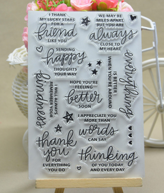 Common words 5 stamp Clear Stamp for Scrapbooking Transparent Silicone Rubber DIY Photo Album Decor p90