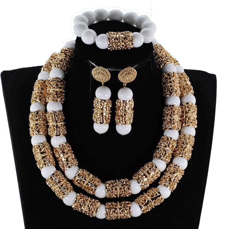 HTB1RmajBZuYBuNkSmRyq6AA3pXae Splendid Navy Blue Nigerian Beaded Women Costume Jewelry Sets Dubai Gold Chunky Statement Necklace Set 2019 WE240