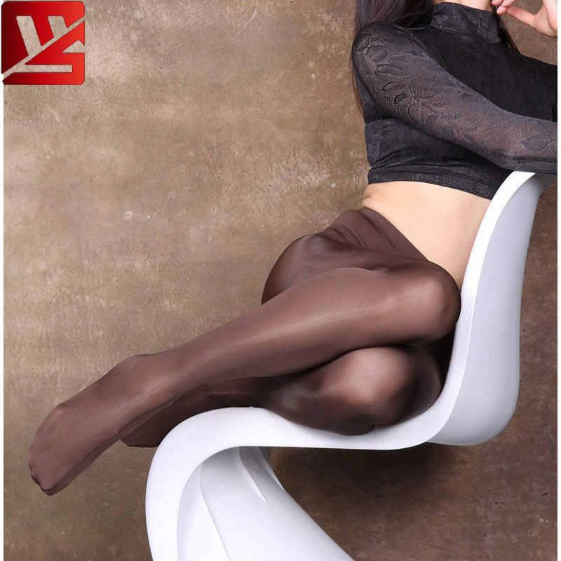 Seksi Kadınlar Yüksek Bel Legging Süt Buz Ipek Pürüzsüz Şeffaf Kalem Çorap Pantolon Tam Boy Şeker Renk F31