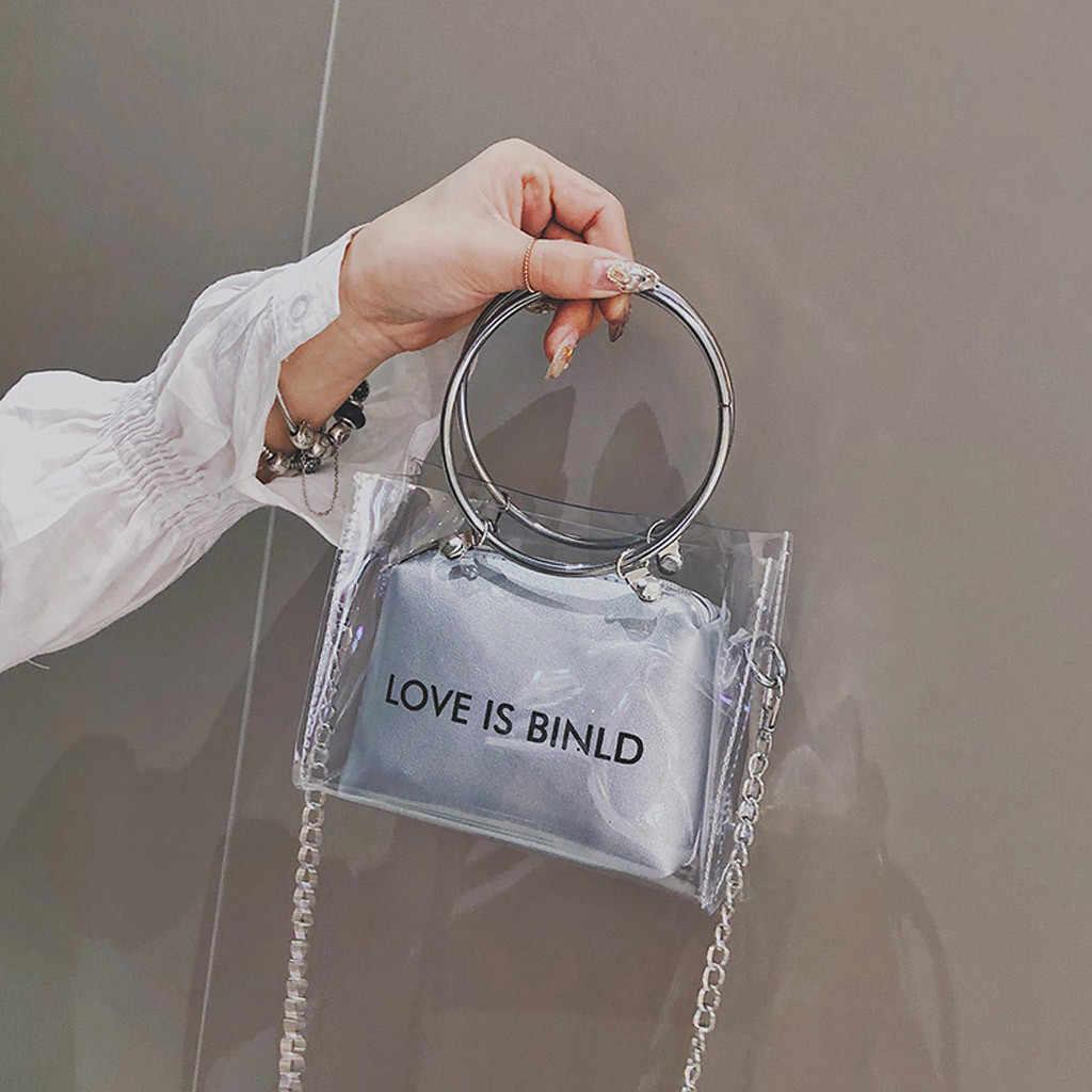 Ladies Bags Trend Transparent Square Shoulder Messenger HandBag woman bag 2019 bolsa masculina sac femme handtassen dames