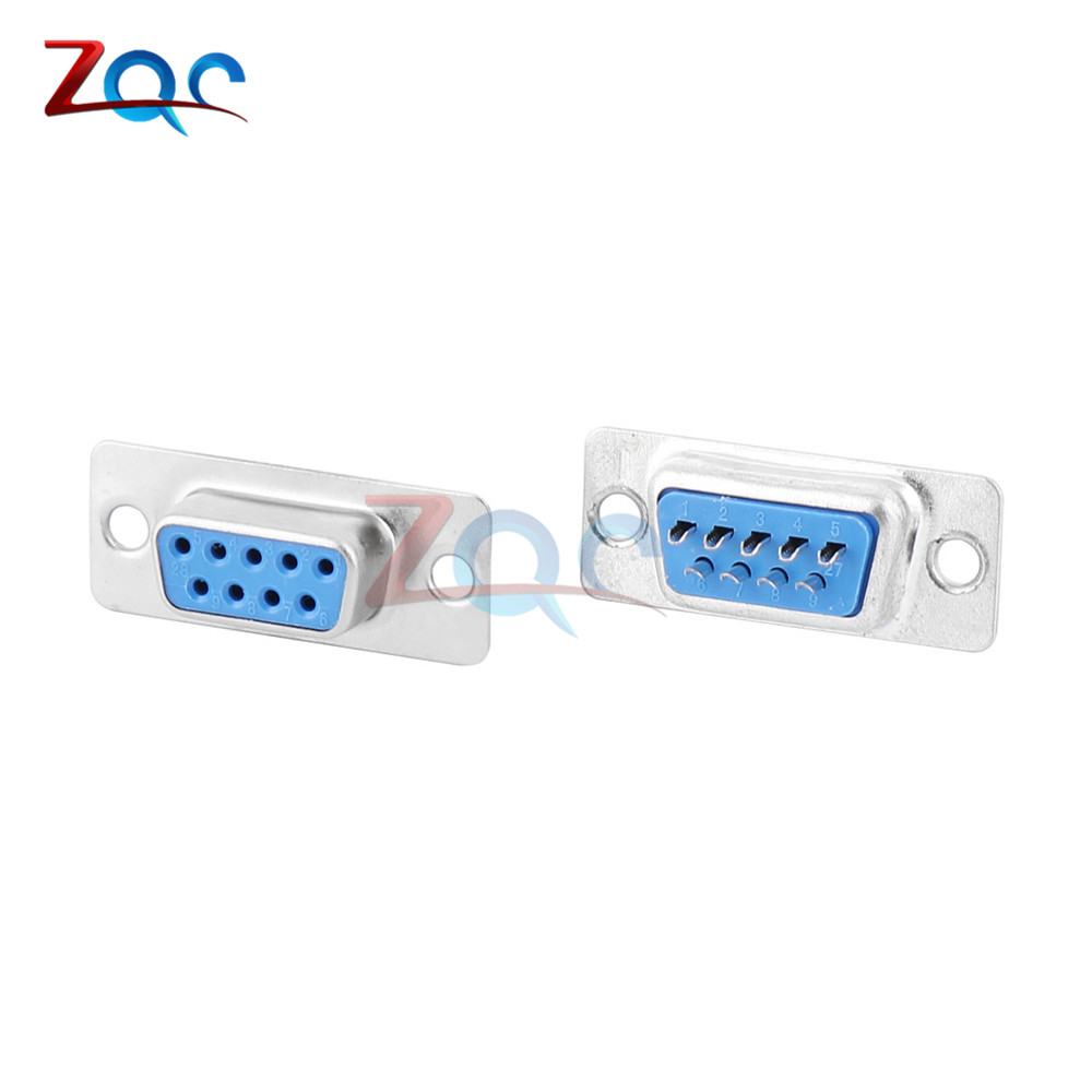 2Set Serial RS232 DB9 9pin Female Assembly Solder Plug Connector with Shell