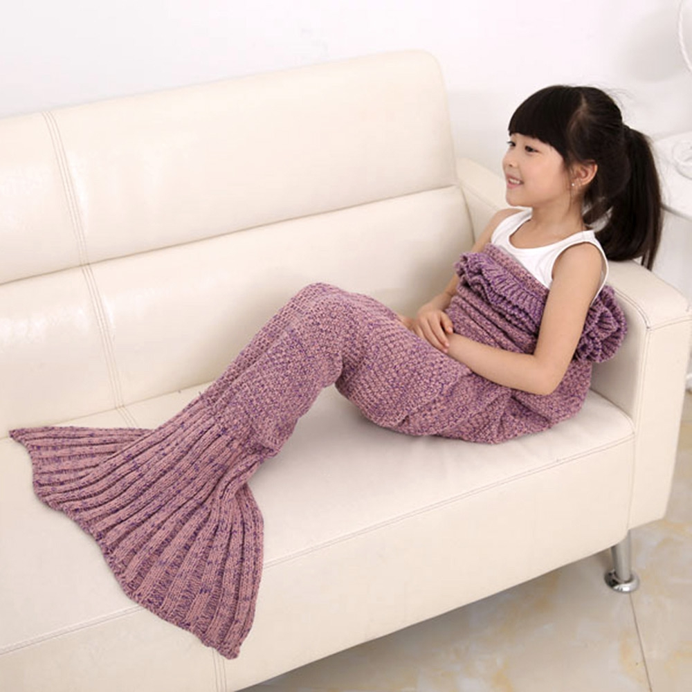 6 Colors Yarn Knitted Mermaid Tail Blanket Super Soft Sleeping Bed Handmade Crochet Anti-Pilling Portable Mermaid Blankets