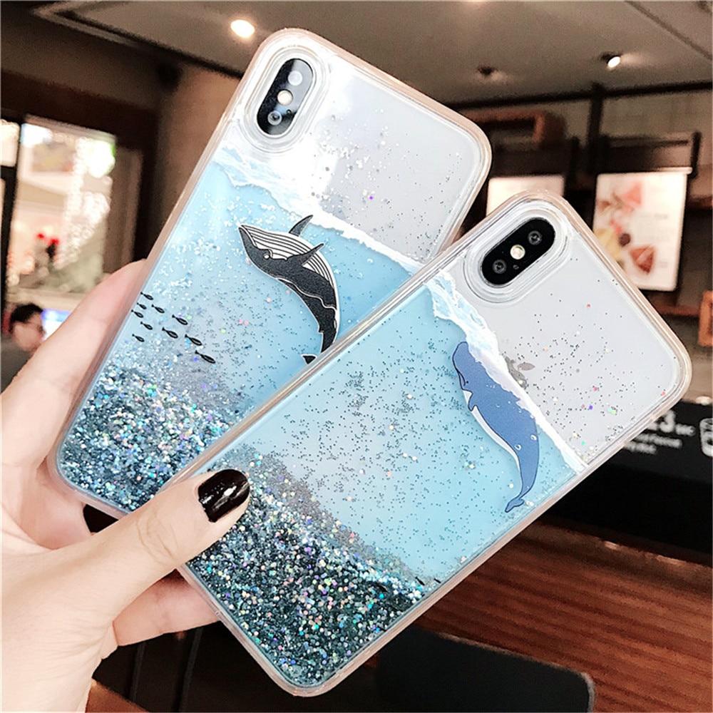 Blue Whale Cute Glitter Phone Case For iPhone 7 8 Plus X XS Max XR Liquid Case For iPhone 6 S 6S