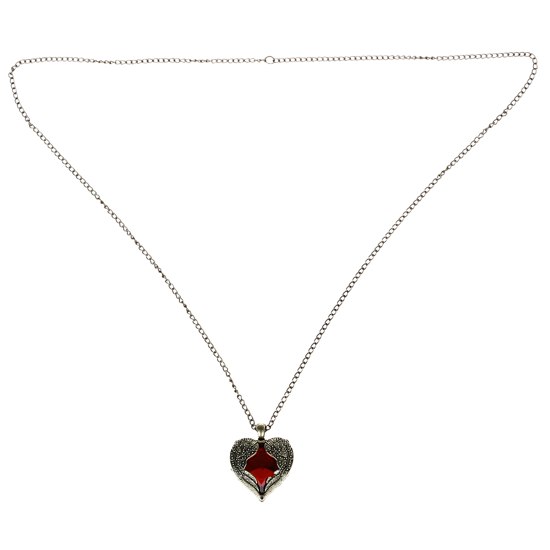 Gold Tone Angel Red Heart Guardian Angel Wing Crystal Pendant Necklace