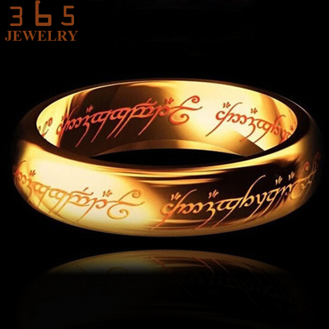 Magic Letter The Lord of One Ring Black Silver Gold Titanium Stainless Steel Ring