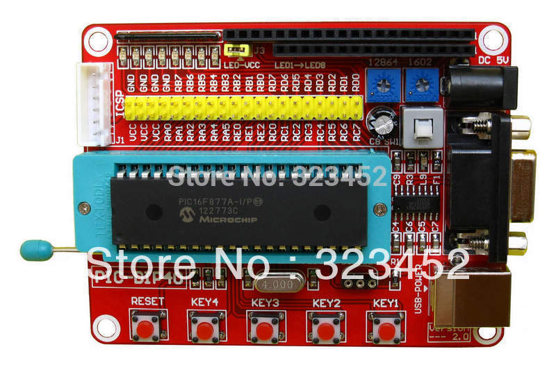 Free Shipping Mini System PIC Development Board + Microchip PIC16F877A+ One USB Cable msp430 development board microchip msp430f149 program breadboard