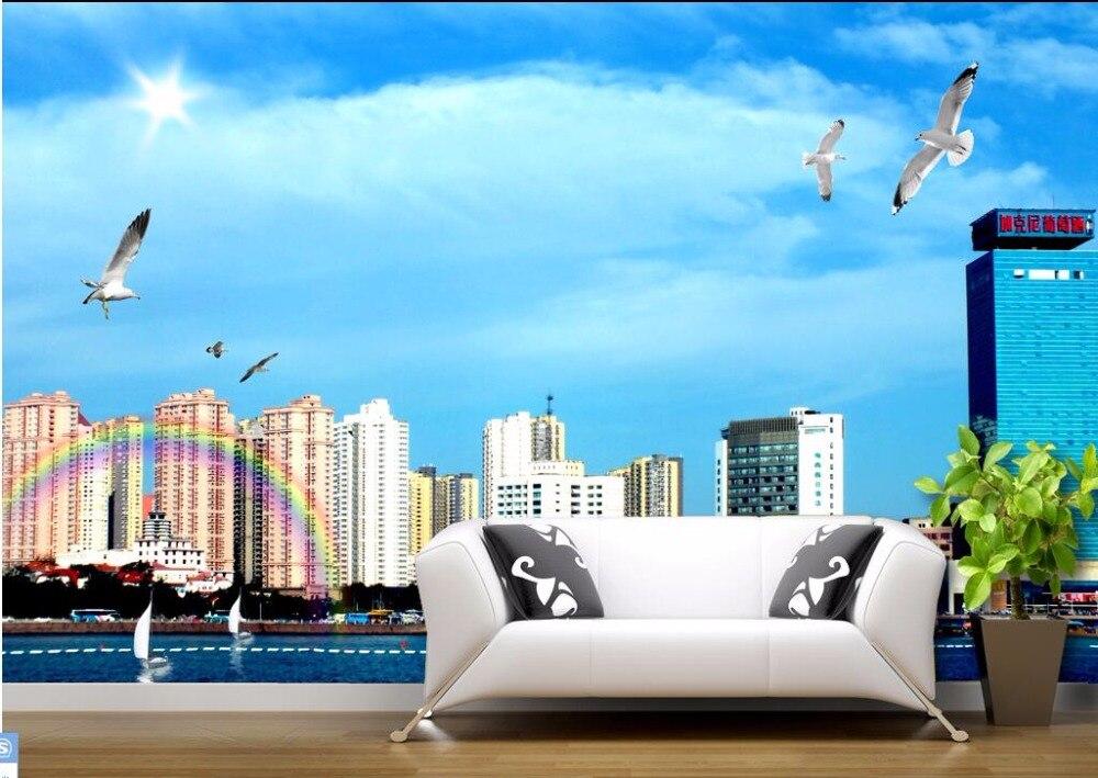 Custom 3 D Photo Wallpaper Wall Murals 3d Wallpaper Beach: 3d Wallpaper Picture Beach Seascape City Construct Room