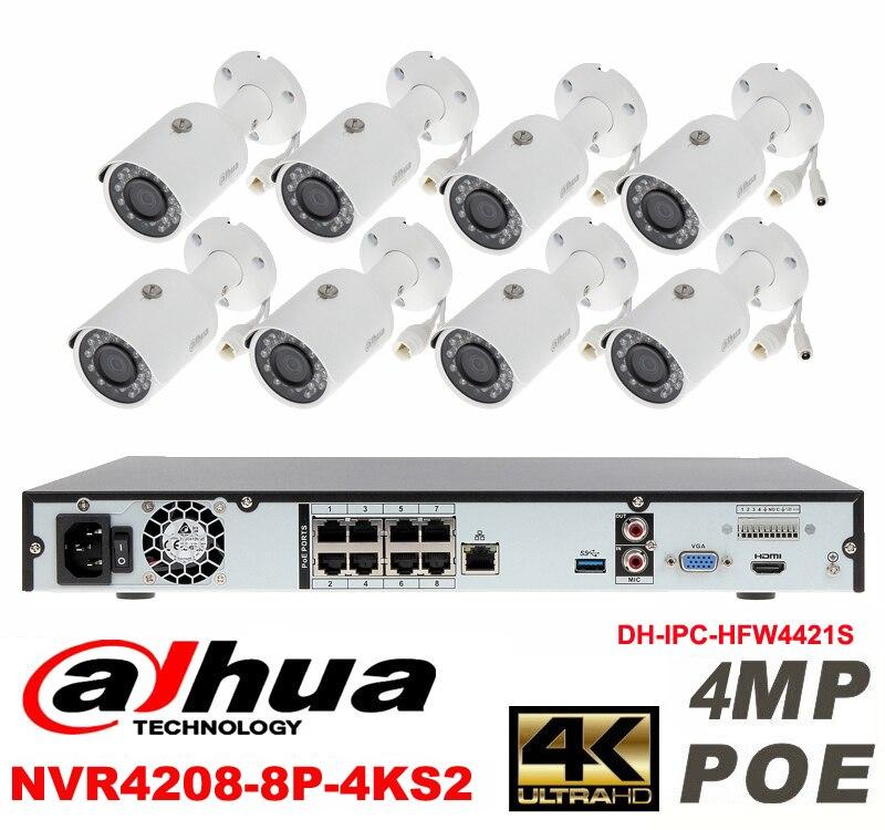 Dahua original 8CH 4MP H2.64 DH-IPC-HFW4421S 8pcs bullet IP security camera POE DAHUA DHI-NVR4208-8P-4KS2 Waterproof camera kit видеокамера ip dahua dh ipc hdbw2220rp zs 2 7 12мм 1 2 8 1984x1225