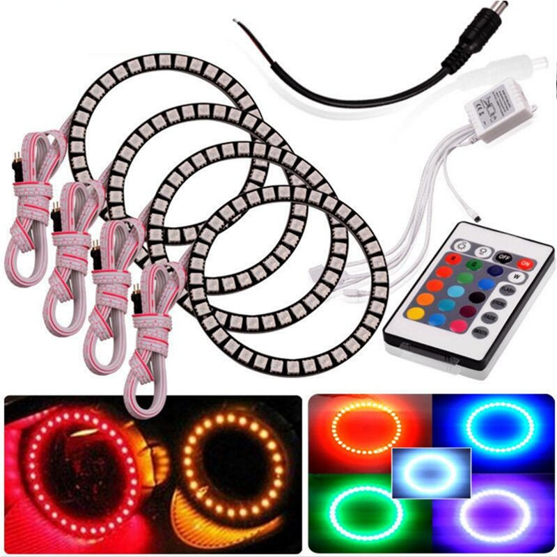 Car RGB 90mm 5050 SMD Headlight LED Halo Rings Light Angel Eye 4 Pieces 12V au2 decor lamp 16 color blub skmei men watch sport altimeter pressure thermomet weather pedometer calories compass multifunction led digit wrist watches men