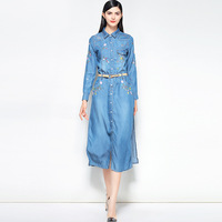 Silk cotton embroidery long sleeve jeans dress 2018 new runway women summer dress high quality office lady a line dress